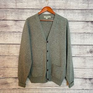 Vintage LL Bean Cardigan Lambswool Leather Buttons